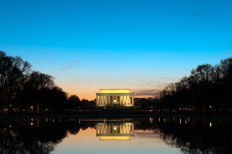 Mémorial de Lincoln au crépuscule photos libres de droits
