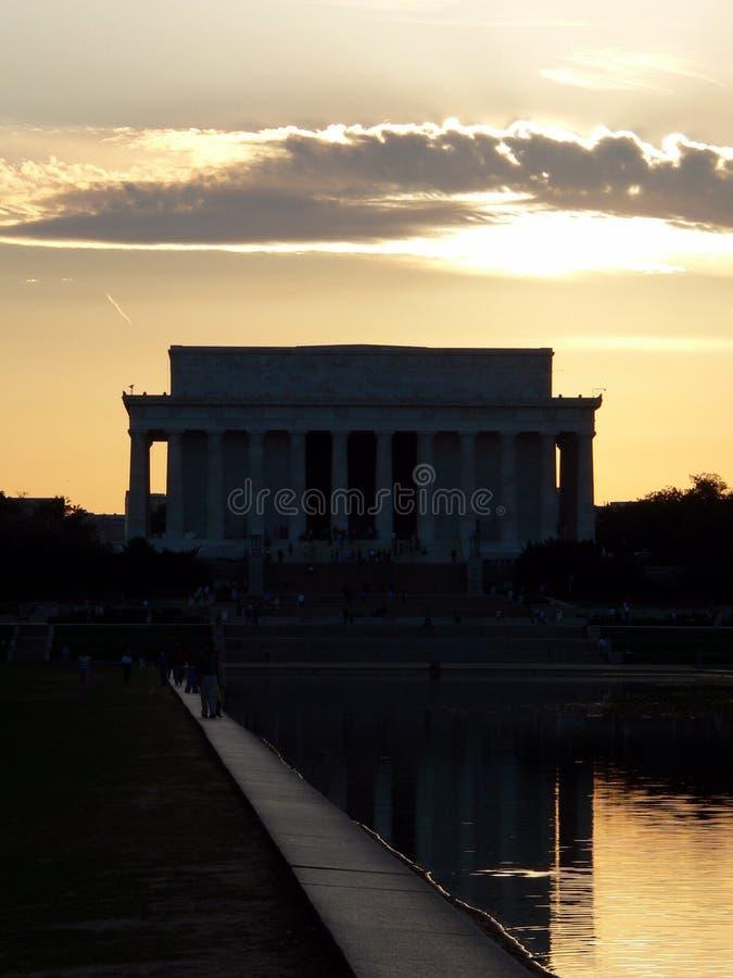 Mémorial de Lincoln dans le Washington DC (District de Columbia) Au coucher du soleil photographie stock libre de droits