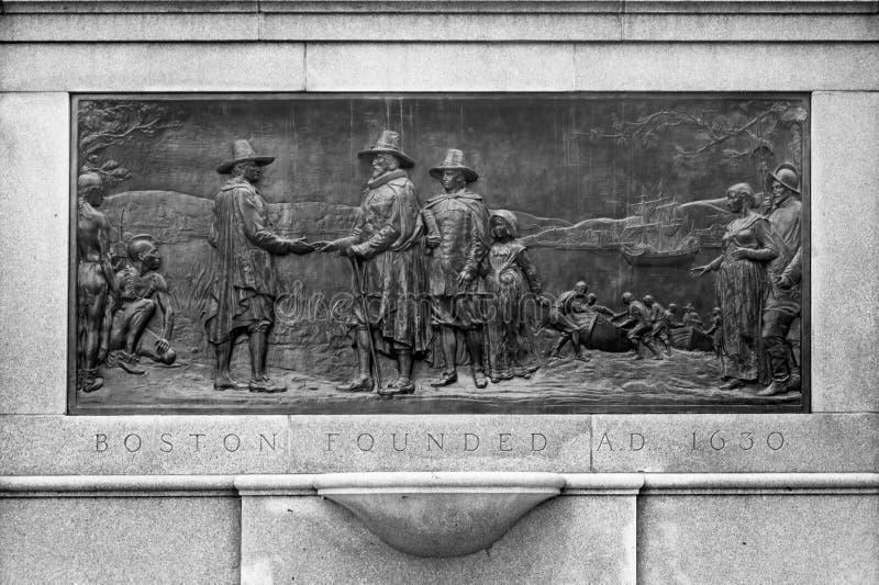 Mémorial historique de plat de base de Boston image libre de droits