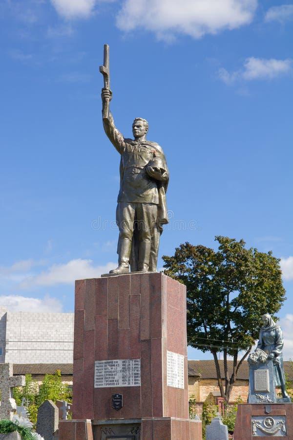 Mémorial soviétique au cimetière à Grodno, Belarus images libres de droits