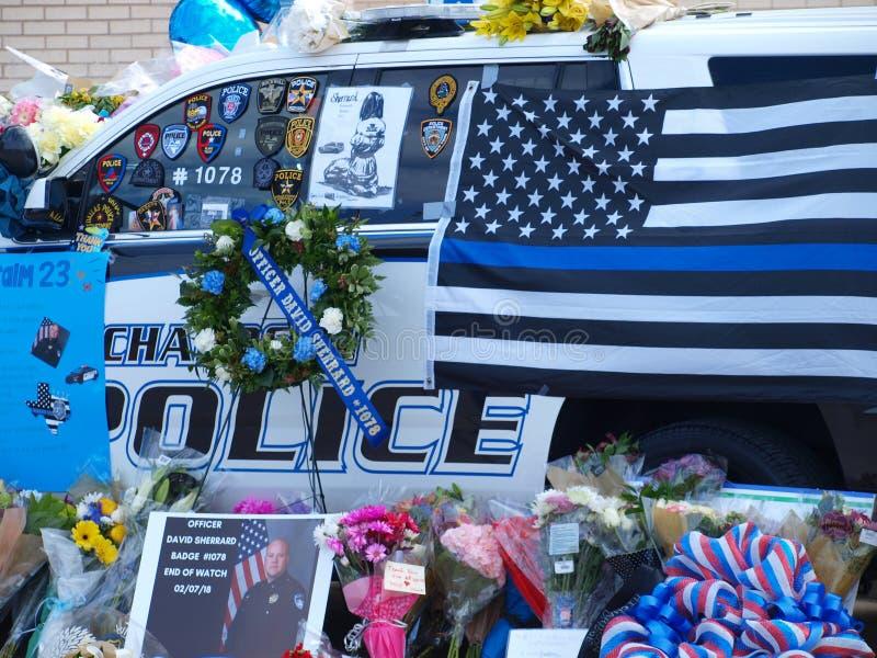 Mémoriaux pour le dirigeant chez Richardson Police Department photos libres de droits