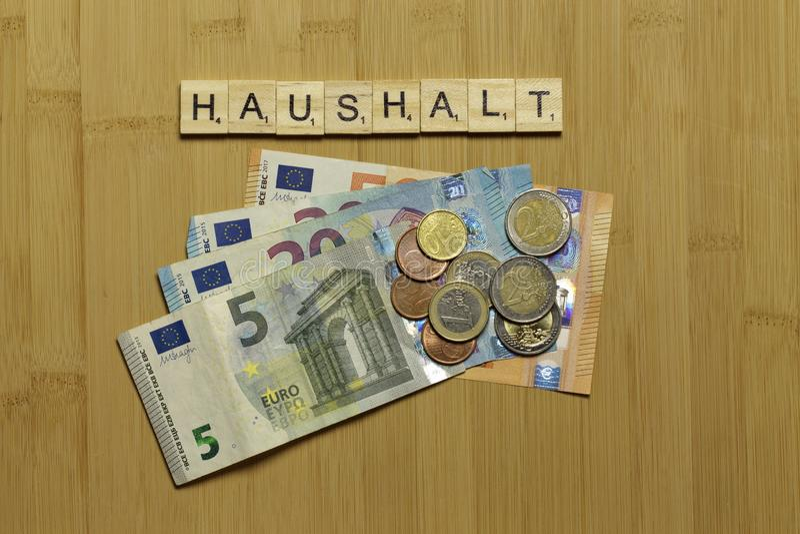 Ménage de signe, budget Haushalt allemand photographie stock libre de droits