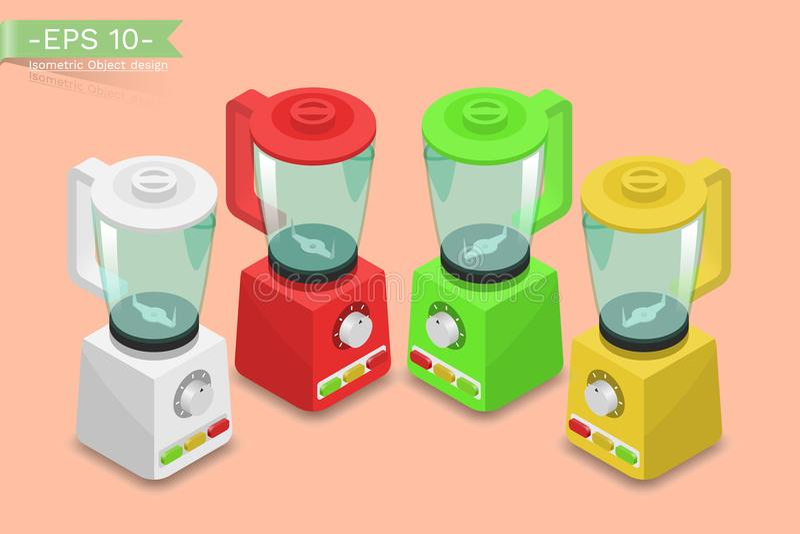 Ménage, mélangeur électrique, mélangeur, presse-fruits, fabricant de smoothie Appareil électronique de cuisine pour la cuisson illustration de vecteur