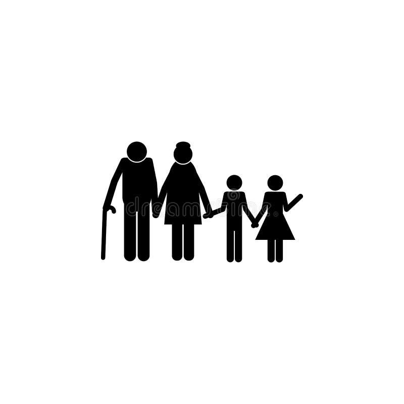 ménages mariés avec l'icône de petits-enfants Élément d'une icône heureuse de famille Icône de la meilleure qualité de conception illustration stock