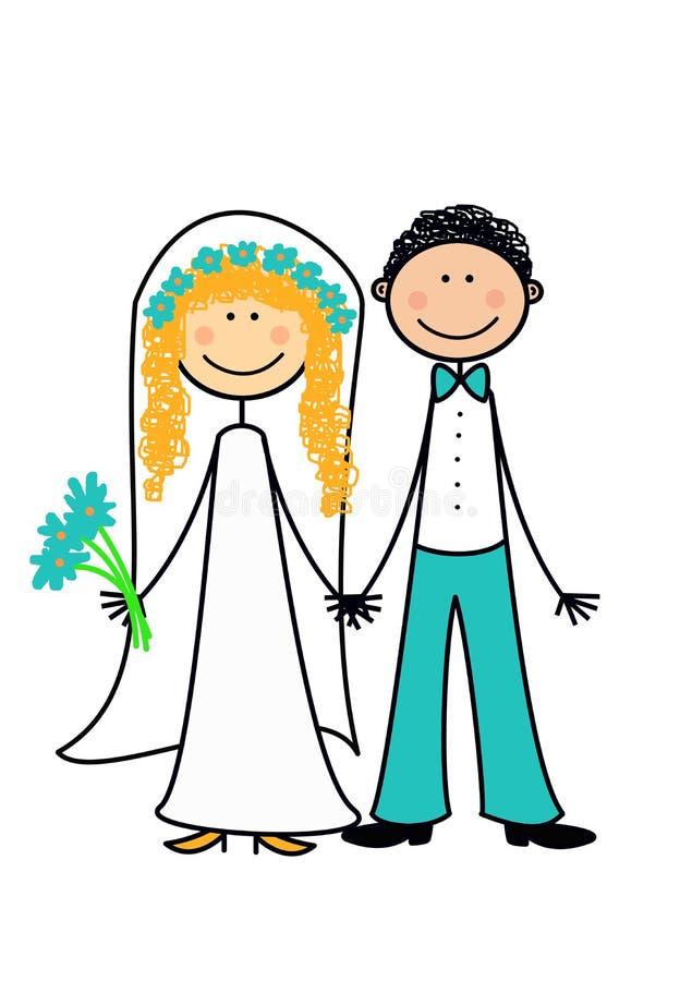 Ménages mariés neuf heureux illustration stock