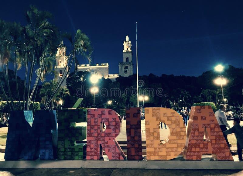 Mérida sign in Plaza Grande - Mexico - Yucatan - stock photography