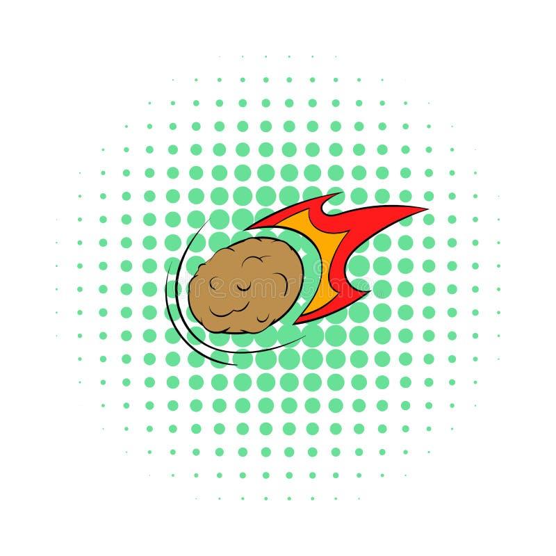 Météore en baisse avec l'icône de longue queue, style de bandes dessinées illustration de vecteur