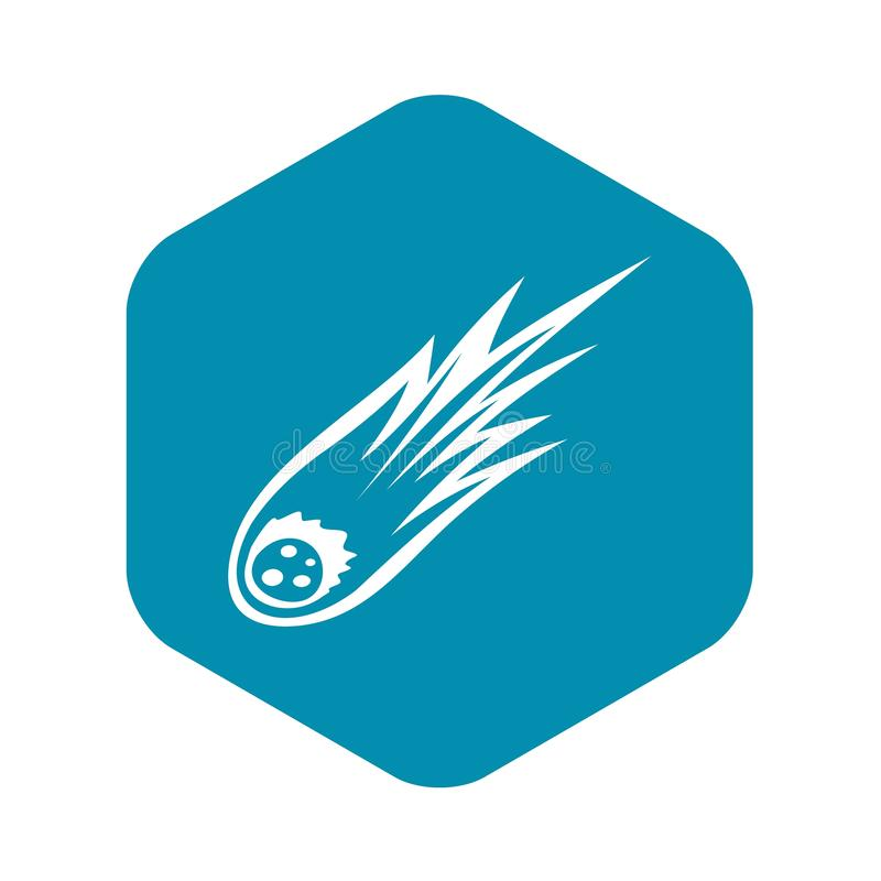 Météore en baisse avec l'icône de longue queue, style simple illustration stock
