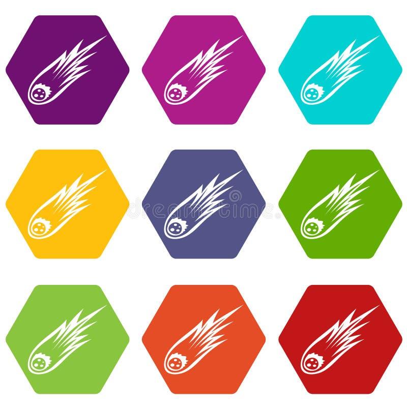 Météore en baisse avec le hexahedron réglé de couleur d'icône de longue queue illustration libre de droits