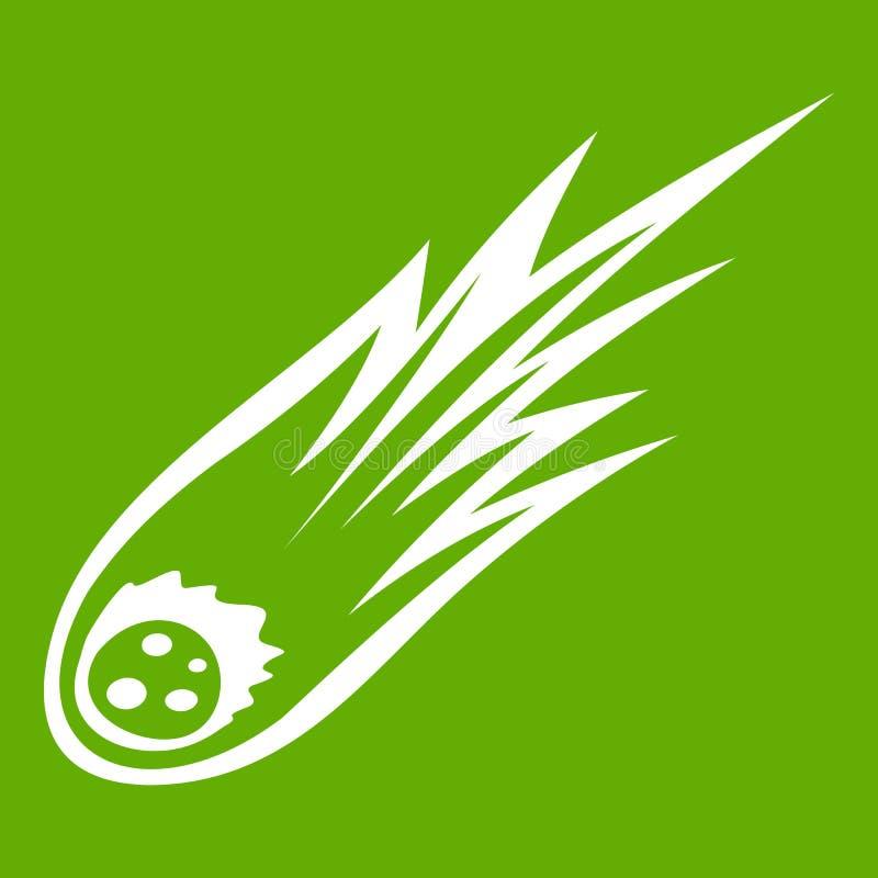 Météore en baisse avec le vert d'icône de longue queue illustration de vecteur