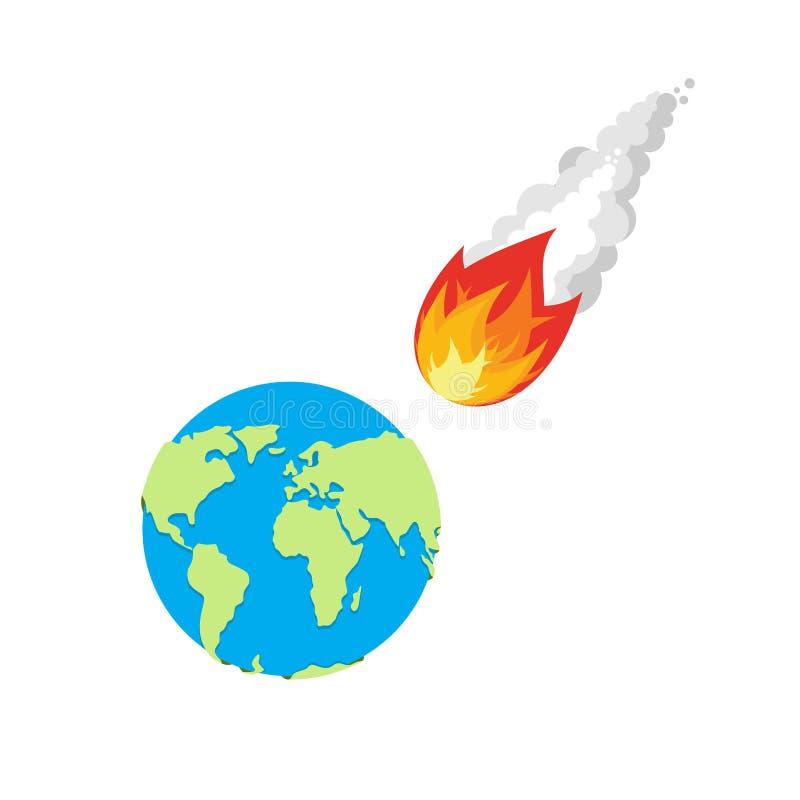 Météore et terre L'aérolithe vole sur terre de planète illustration de vecteur