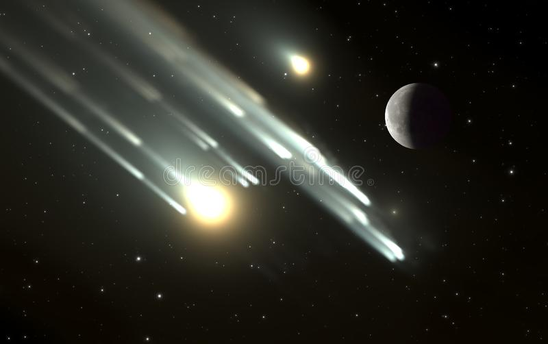 Météores ou brûlure satellite de fragments dans l'atmosphère terrestre illustration de vecteur