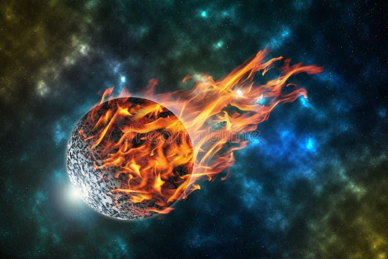 météorite brûlante en univers, élément de cette image meublé par photographie stock