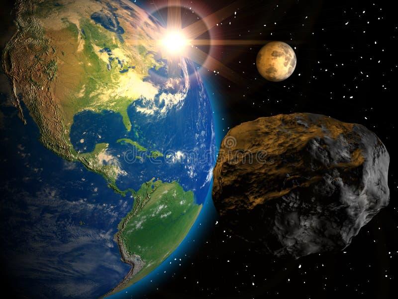 Météorite et la terre illustration de vecteur
