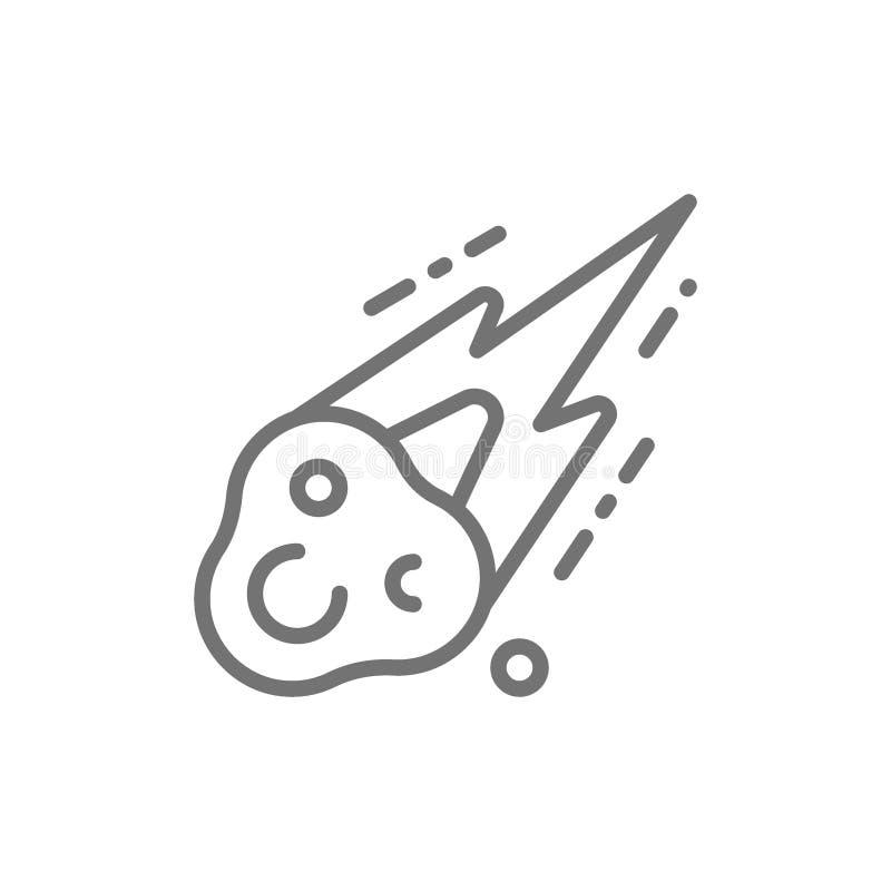 M?t?orite, ligne ic?ne de chute de pluie de m?t?ore illustration stock