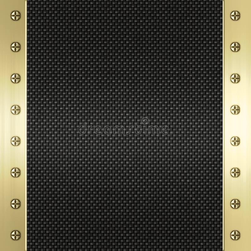 métal d'or de fibre de carbone de fond illustration de vecteur