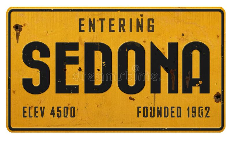 Métal de grunge de route de plaque de rue de Sedona Arizona illustration libre de droits