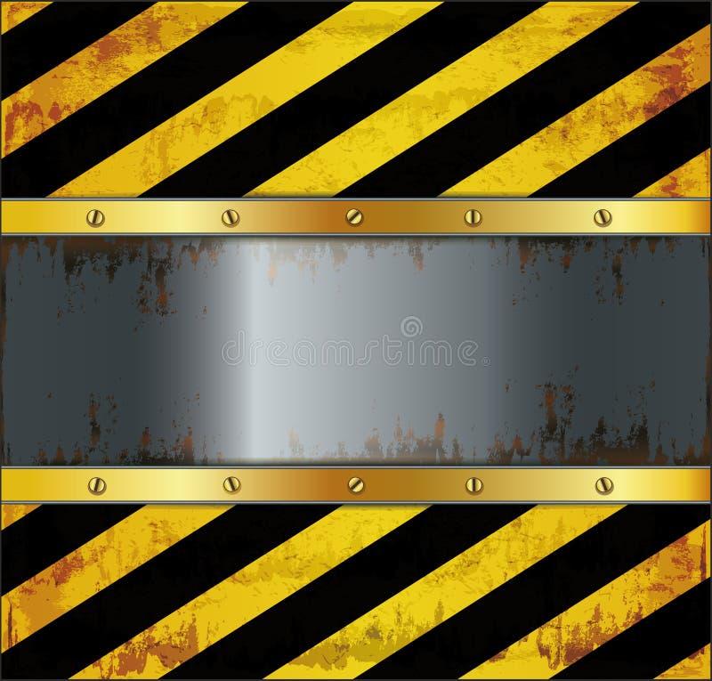 métal de panneau d'attention de tableau noir rouillé illustration de vecteur