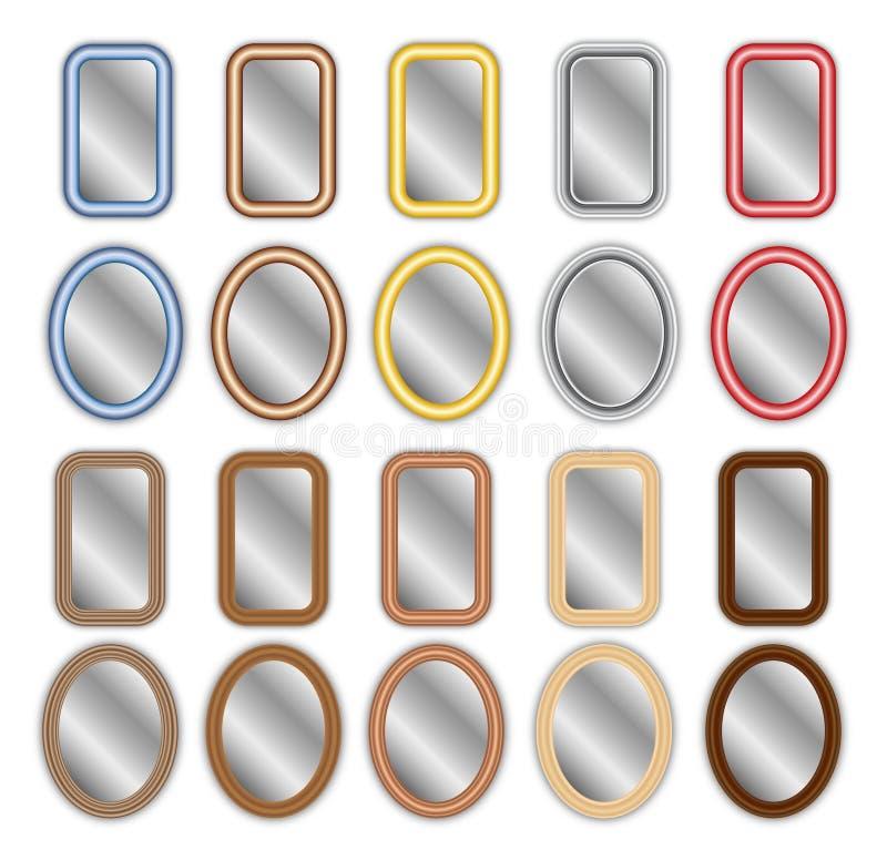 Métal et miroirs encadrés par bois image stock