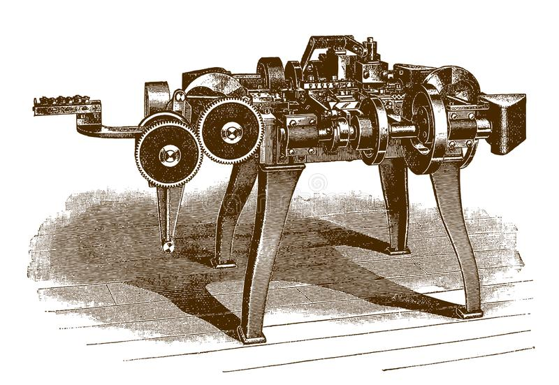 Métal historique et automatiques de bande de quatre glissières guide la machine illustration stock