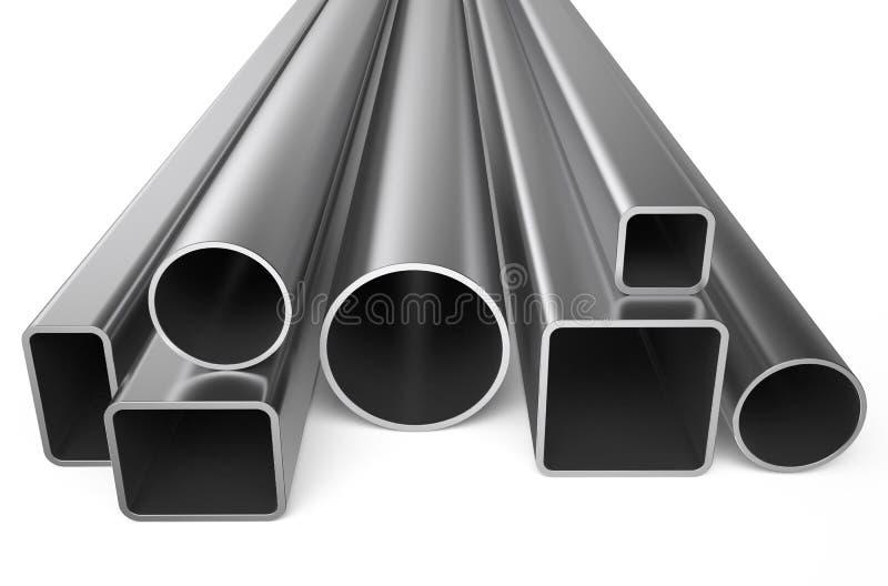 Métal roulé, assortiment des tuyaux carrés illustration stock