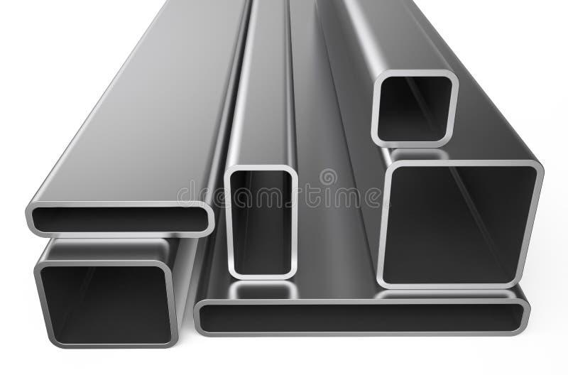 Métal roulé, assortiment des tuyaux carrés illustration libre de droits