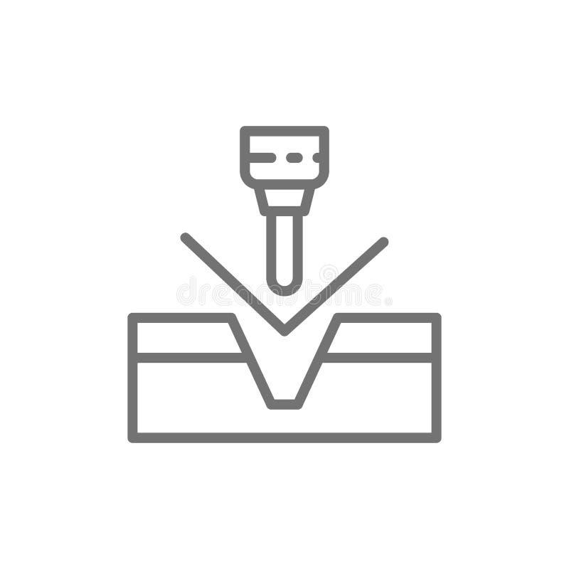 Métal se pliant, ligne hydraulique icône de machine de presse de commande numérique par ordinateur illustration libre de droits