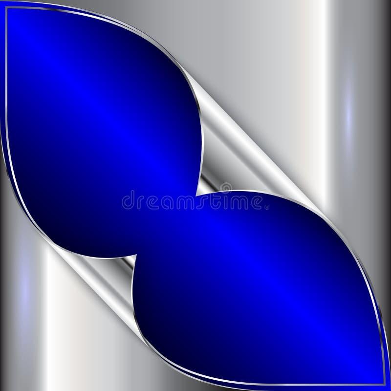 Métallique bleu de vecteur et argenté abstrait illustration libre de droits