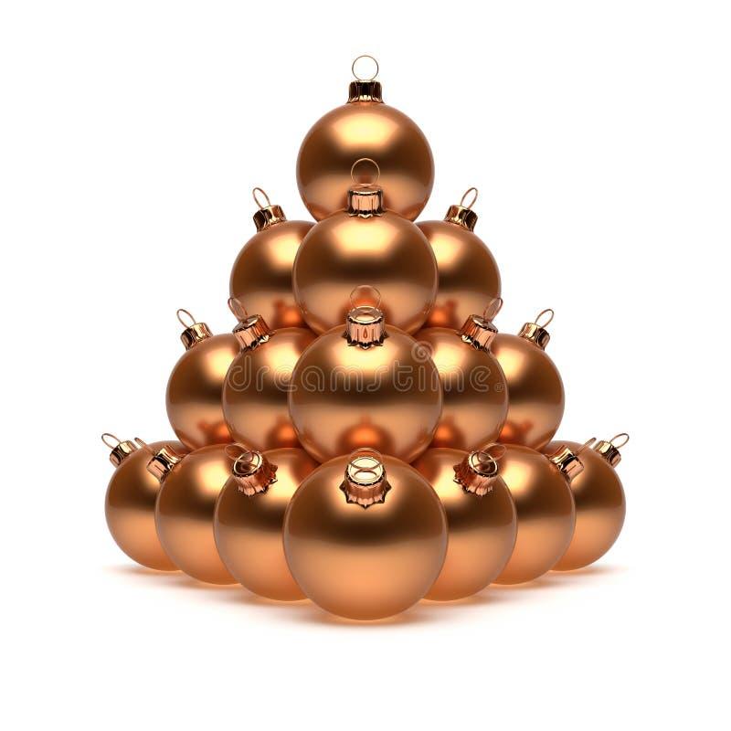 Métallique jaune d'or brillant de Noël de pyramide de luxe de boules illustration de vecteur