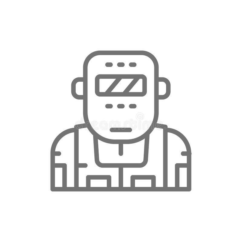 Métallurgiste dans une ligne icône de masque protecteur illustration de vecteur