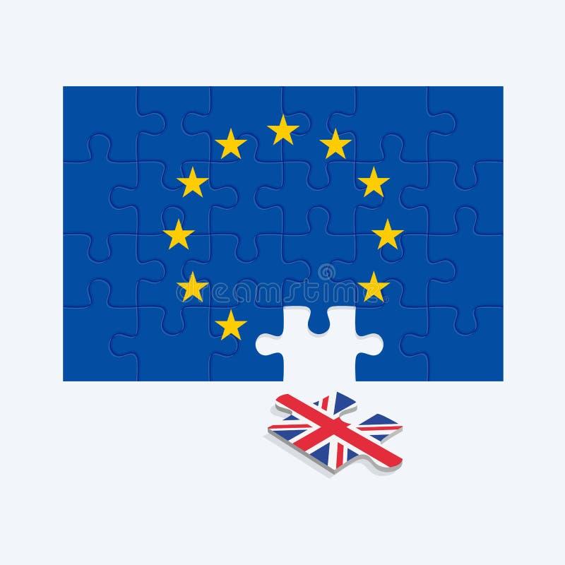 Métaphore d'illustration de puzzle de Brexit des problèmes politiques illustration stock