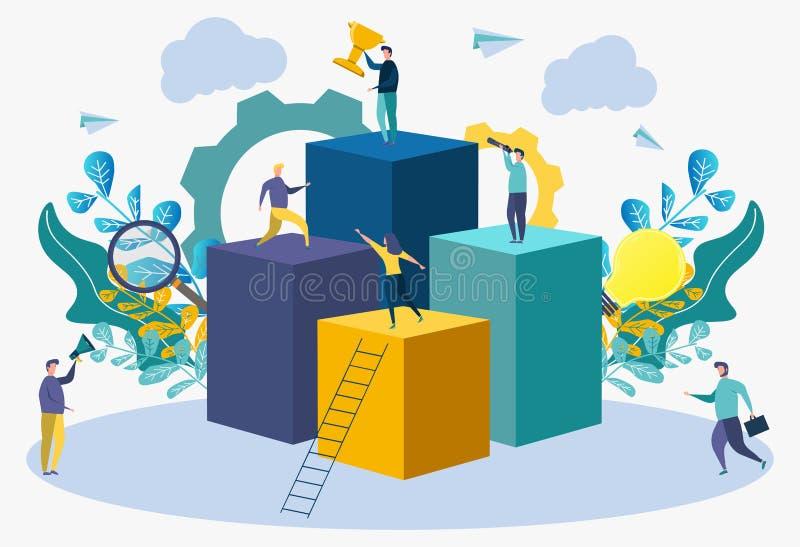 Métaphore de succès de carrière Atteignez le succès et les buts dans les affaires Illustration colorée d'Infographic carri?re illustration stock