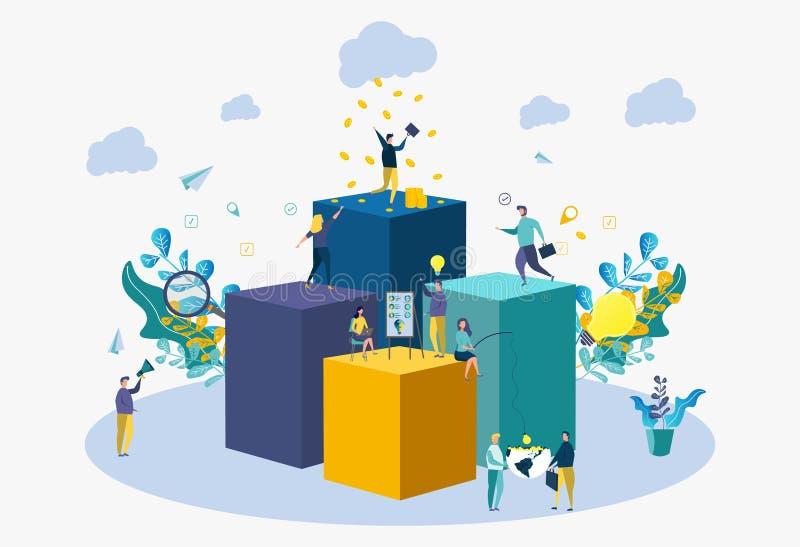 Métaphore de succès de carrière Atteignez le succès et les buts dans les affaires Illustration colorée d'Infographic carri?re illustration de vecteur