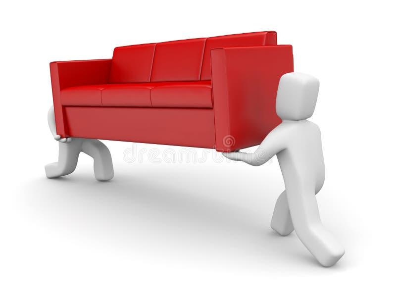 Métaphore mobile Les gens portent le sofa illustration stock