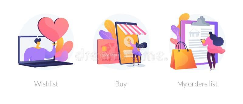 Métaphores de achat en ligne de concept de vecteur illustration libre de droits