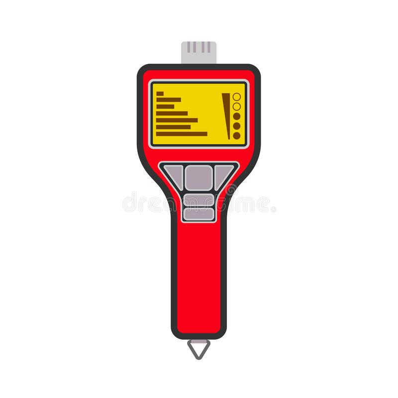 Méthane rouge numérique portatif de contrôleur de tuyau de LPG de gaz de détecteur, icône de vecteur de propane Alerte de mètre d illustration libre de droits