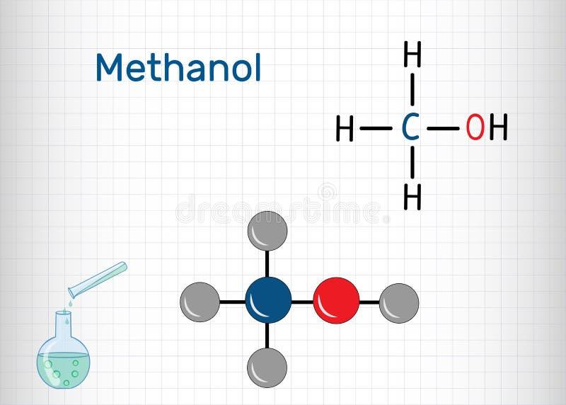 Méthanol, alcool méthylique, molécule Substitut de sucre et E951 Mod?le structurel de formule chimique et de mol?cule illustration de vecteur