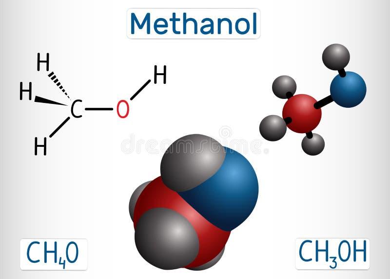 Méthanol, alcool méthylique, molécule Substitut de sucre et E951 Mod?le structurel de formule chimique et de mol?cule illustration libre de droits