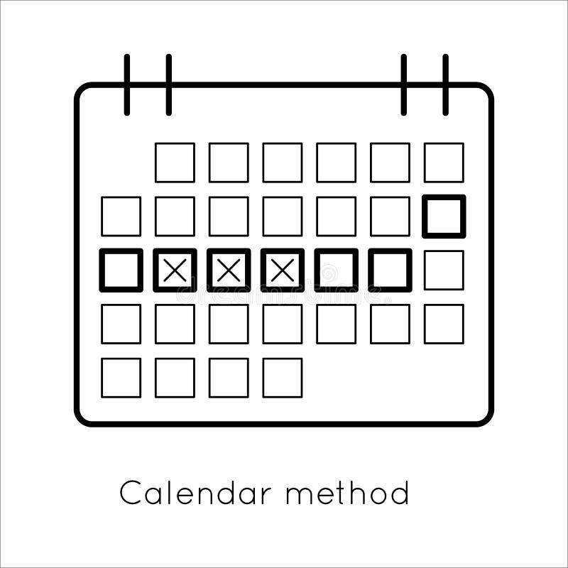 Método da contracepção - calendário da ovulação ilustração royalty free