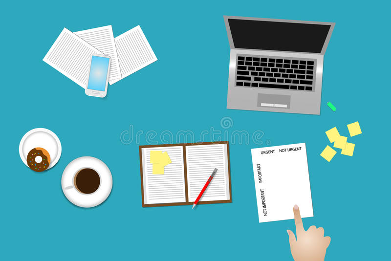 Método de gestión de tiempo importante y el usiing urgente ilustración del vector