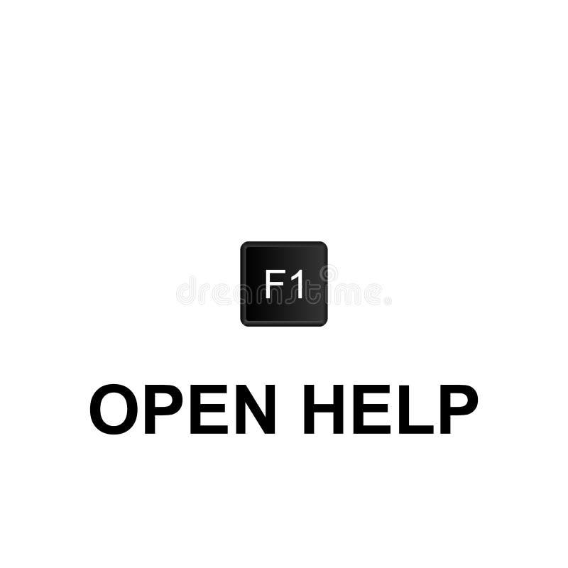Métodos abreviados de teclado, icono abierto de la ayuda Puede ser utilizado para la web, logotipo, app móvil, UI, UX stock de ilustración