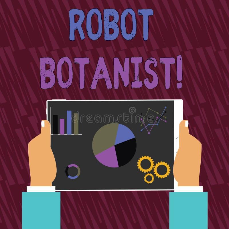 Métodos da foto de Conceptual do botânico do robô da exibição do sinal do texto para a terra arrendada botânica automatizada das  ilustração stock