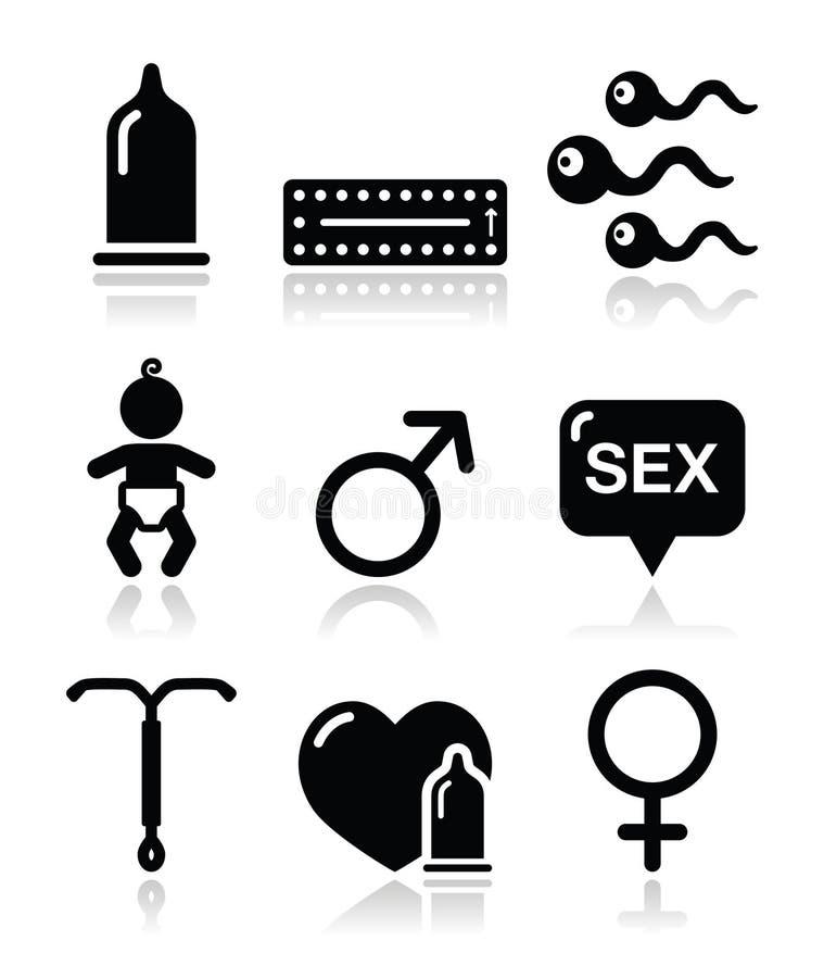 Métodos de la contracepción, sexo de los iconos del sexo libre illustration