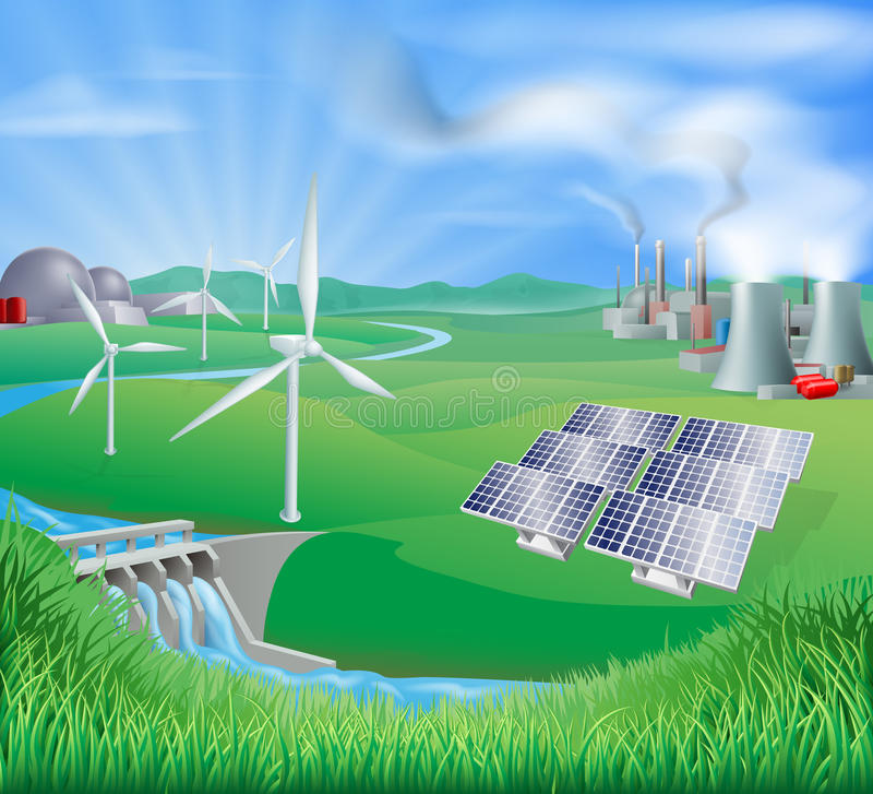 Métodos de la producción de la electricidad o de energía stock de ilustración