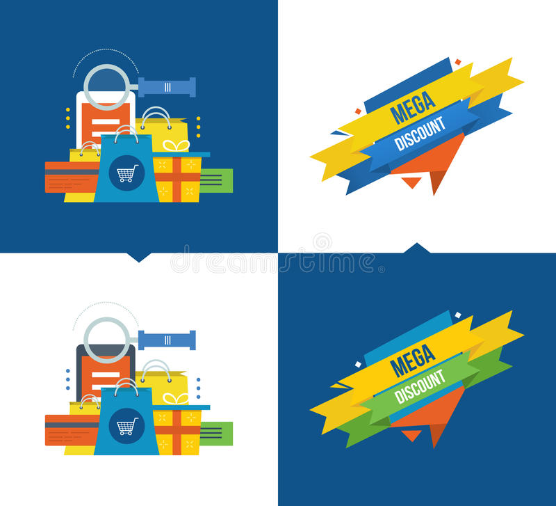 Métodos de pago, compras en línea, márketing móvil, descuentos, sistema de cupón stock de ilustración