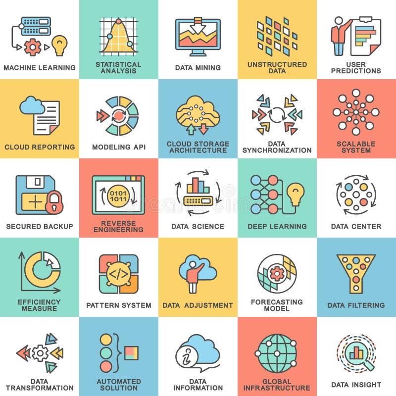 Métodos de proceso modernos de la base de datos de los iconos del contorno de datos ilustración del vector