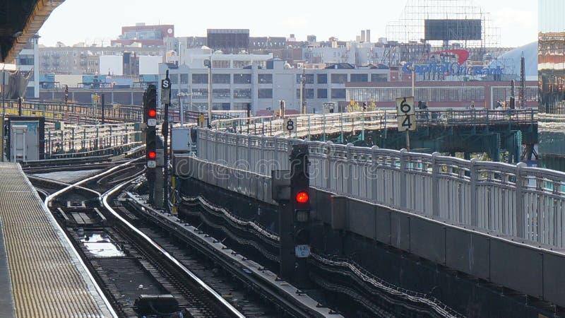 Métro de New York - signal de souterrain photo stock
