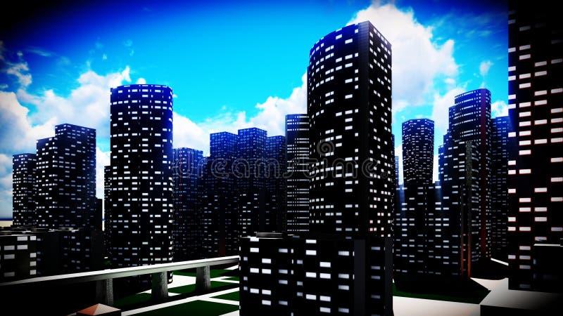 Métropole - vue panoramique illustration libre de droits