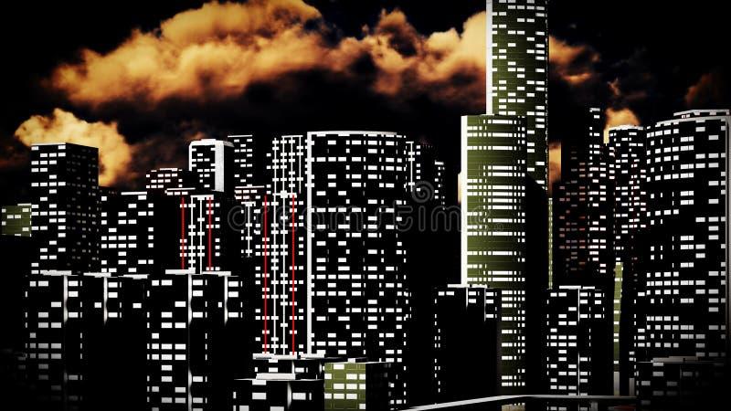 Métropole - vue panoramique illustration de vecteur