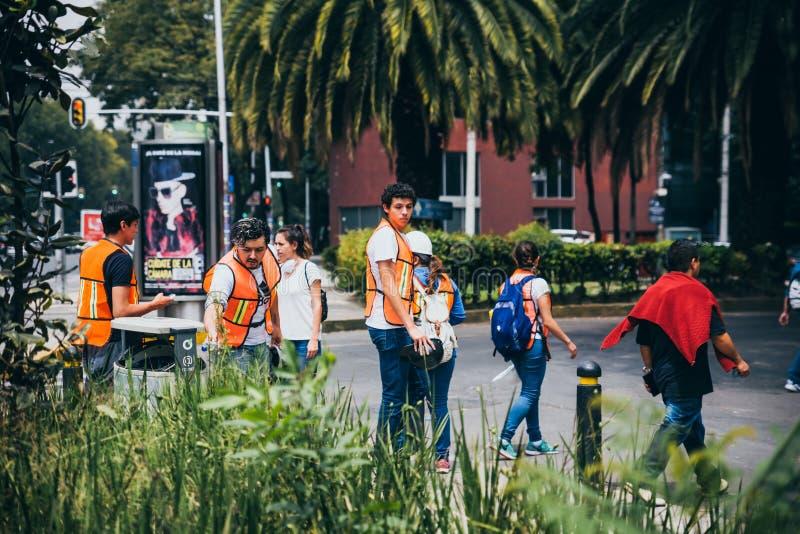 MÉXICO - 20 DE SETEMBRO: Povos civis que oferecem-se para ajudar a salvar vítimas do terremoto imagem de stock royalty free